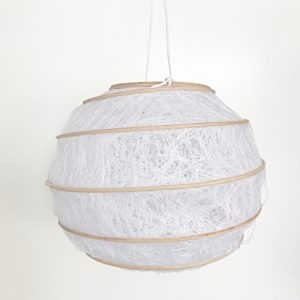Lampion wit/bamboo